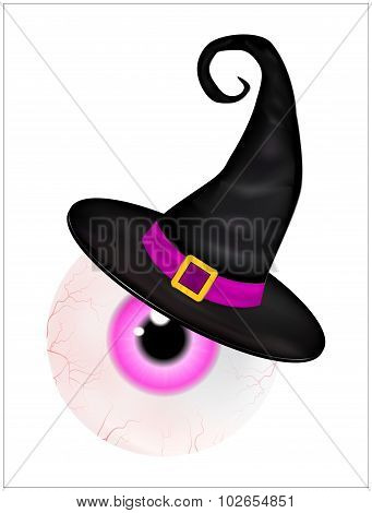 Image Of  Halloween Spooky, Scary, Realistic Human Eyeball With Colorful Pupil, Iris In Wich Hat. Ve