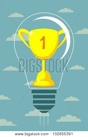 Vector winner cup on light bulb background.