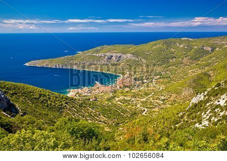 Island Of Vis Archipelago Aerial View
