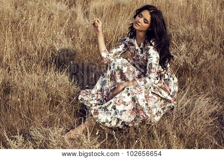 Woman With Dark Hair Wears Luxurious Colorful Dress Posing In Summer Field