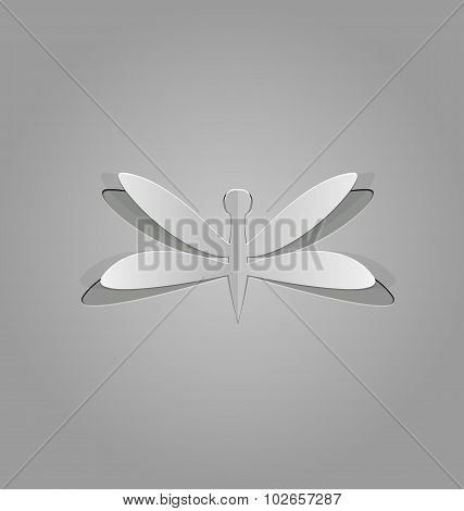 Illustration of dragonfly cut from paper