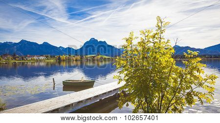 Lake Hopfensee In Allgaeu In Autumn