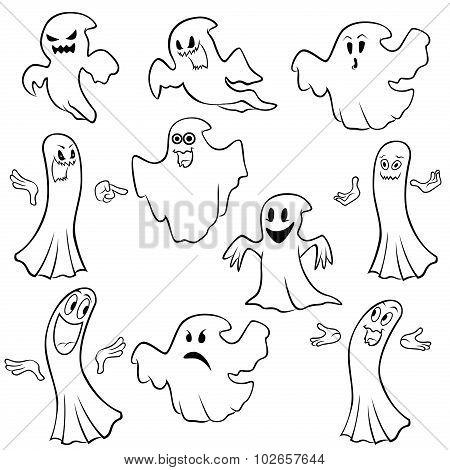 Set Of Ten Ghost Outline