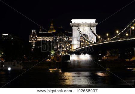 Budapest Chains Bridge Night