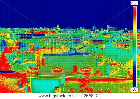 Thermal Image Panorama Of Zagreb