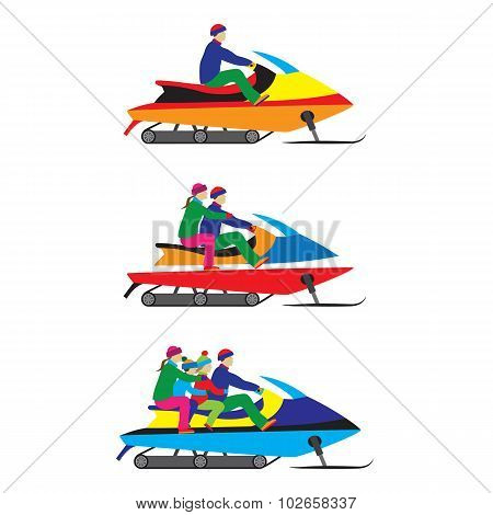 People, Family On A Snowmobile. Winter Sports.