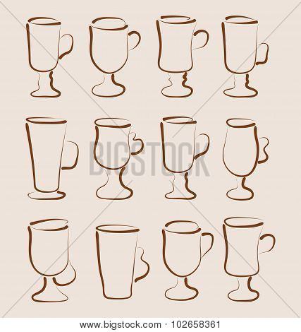 Sketch set coffee and latte cups design elements