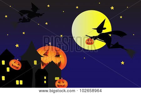 Halloween Night With Pumpkins And Flying Witches
