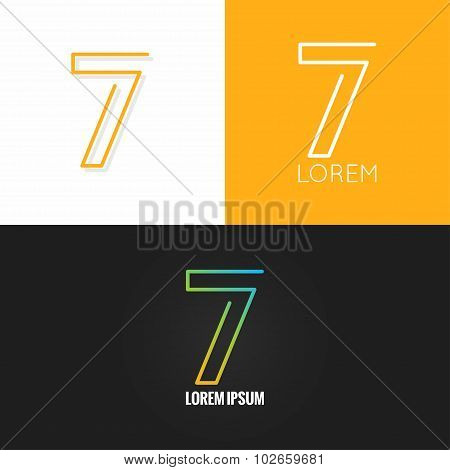 Number seven 7 logo design icon set background
