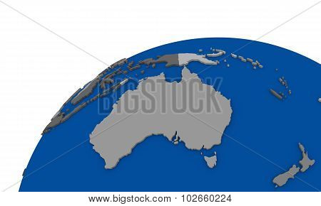 Australia On Earth Political Map