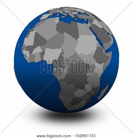 Africa On Political Globe Illustration