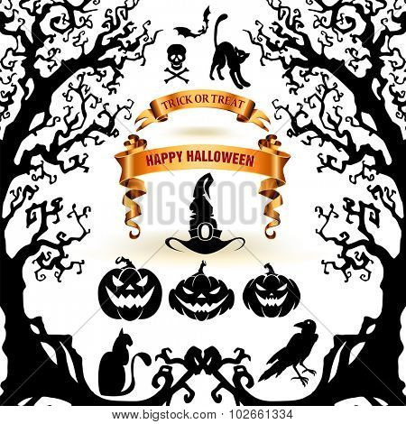 Halloween collection of design elements.  Scary objects and banners.