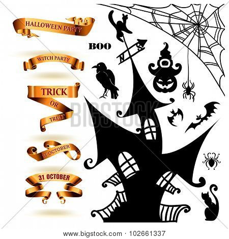 Halloween collection of design elements. Vector illustration