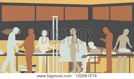 Colorful eps8 editable vector cutout illustration of hand-luggage and passengers being checked at airport security