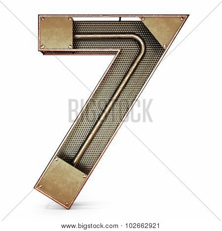3d number seven 7 symbol with rustic gold metal