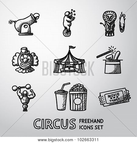 Set of CIRCUS freehand icons with - clown, cannon, bear, lion, magician hat, strongman, ticket, cola