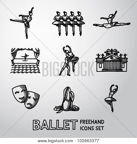 Set of Ballet freehand icons with - ballet dancers, swan lake dance, stage, theater building, masks.
