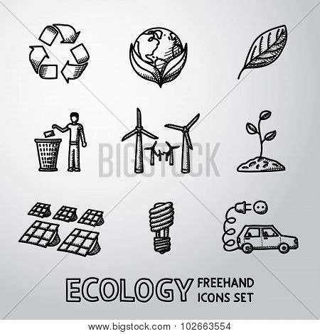 Set of handdrawn ECOLOGY icons  - recycle sign, green earth, leaf, garbage disposal, wind and solar
