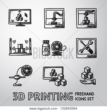 Set of handdrawn 3D Print icons  - printers, pc with app, scanner, printing process, maintaining, pl