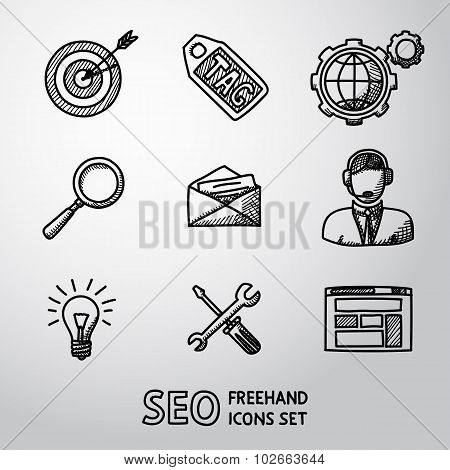 Set of SEO handdrawn icons - target with arrow, tag, world, magnifier, mail, support, idea, instrume