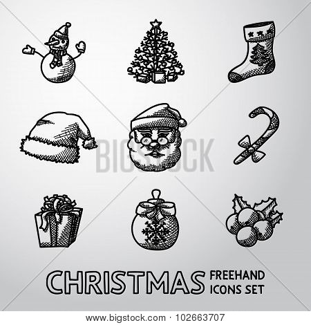 Set of freehand CHRISTMAS icons - snowman, tree, sock, hat, Santa, candy, present, bauble, mistletoe