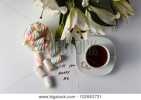 Cup Of Tea, White Lily, Colored Marshmallow And Note