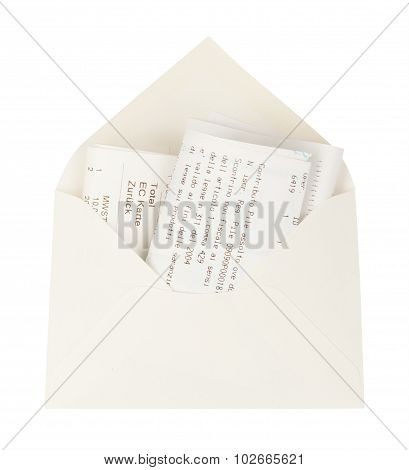 Open white envelope with bills