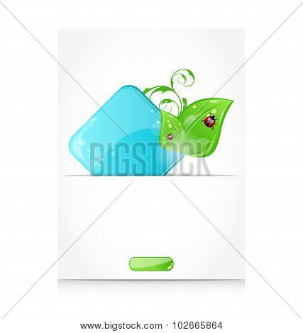 Beautiful icon with green leaves and ladybugs
