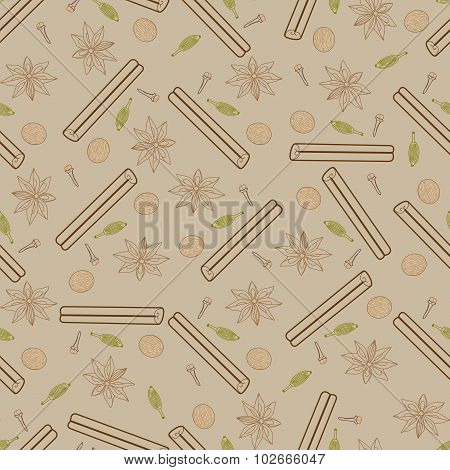 Contour Spicy Seamless Pattern