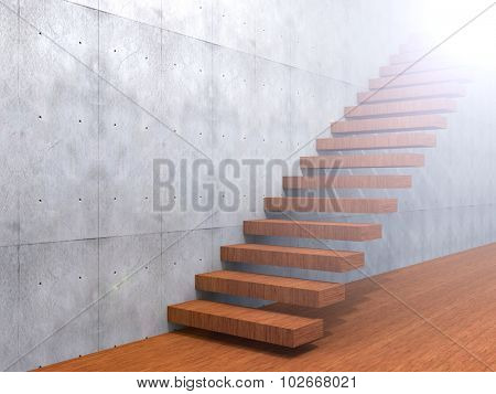 Concept or conceptual brown wood or wooden stair or steps near a wall background on  floor