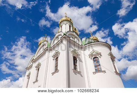 Golden Domes Of Catherine Cathedral Against Blue Sky. Tsarskoye Selo (pushkin), Russia