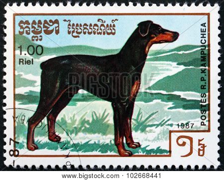 Postage Stamp Cambodia 1987 Doberman Pinscher, Dog