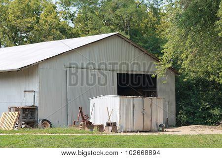 Machine shed on a farm