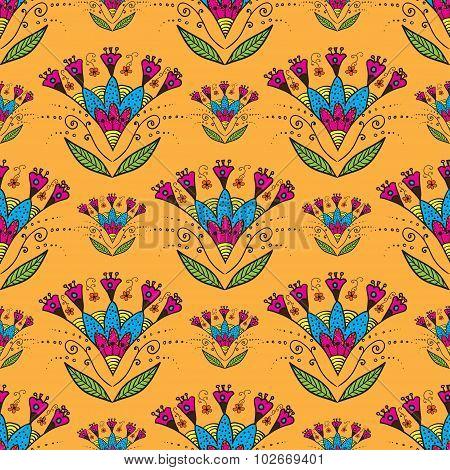 Seamless pattern with Indian stylization lotus