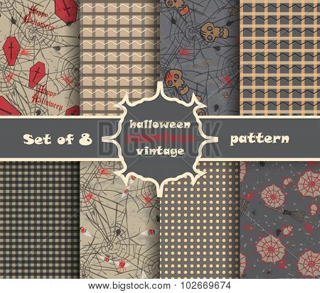 Set Vintage Seamless Pattern For Halloween Party