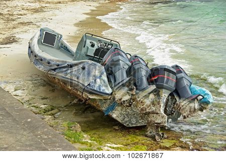 Wrecked Powerboat