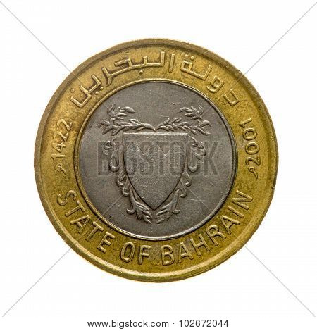 Coin Hundred Fils Bahrain Isolated On White Background. Top View