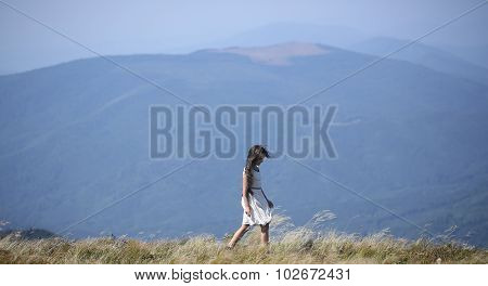 Small Girl In Mountains
