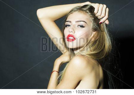 Undressed Woman In Studio