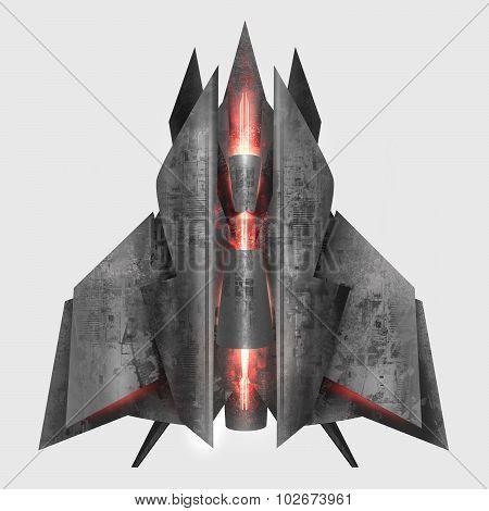 Futuristic grey metal spaceship.