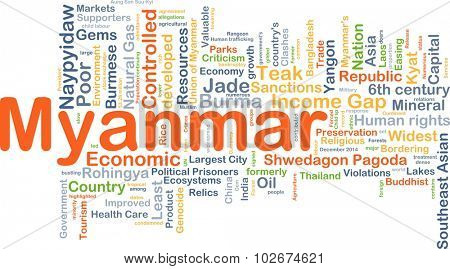 Background concept wordcloud illustration of Myanmar