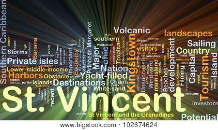 Background concept wordcloud illustration of St. Vincent glowing light