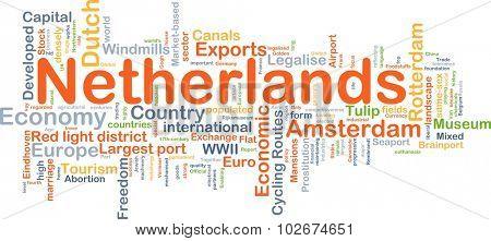 Background concept wordcloud illustration of Netherlands