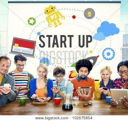 Start Up Goals Growth Success Plan Business Concept