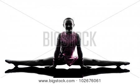 one caucasian woman teenager  and little girl child exercising Rhythmic Gymnastics in silhouette isolated on white background