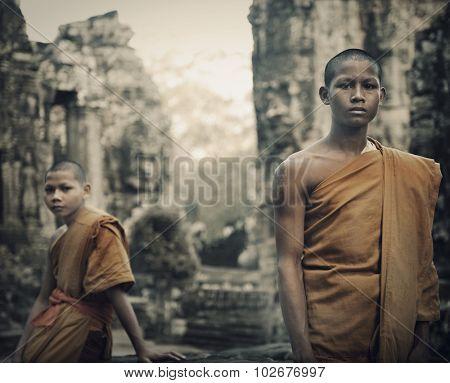 Contemplating Monk Cambodia Angkor Wat Siam Reap Concept
