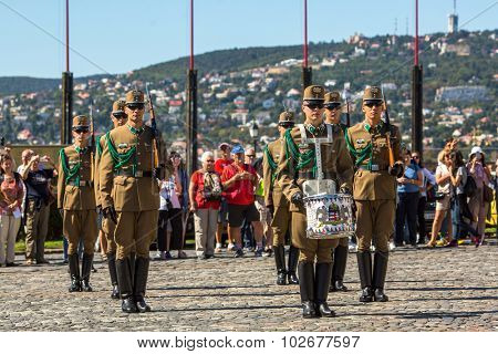 BUDAPEST, HUNGARY - SEPT 21, 2015: Changing of the Guards by the Hungarian Presidential Palace in the Buda Castle District in Budapest. (National Home Defense Ceremonial Band)