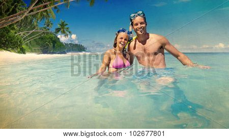 Couple Scuba Gear Paradise. Summer Vacation Concept