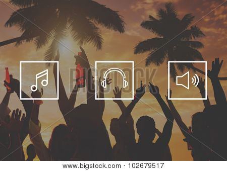 Media Song Music Musical listening Play Concept