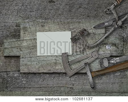 Vintage Jeweler Tools,business Card Over Wooden Bench
